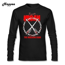 Buy Long Sleeve Tee Shirt Men Popular Negan Lucille T Shirt Male 100% Cotton Clothing Walking Dead Man Tshirt Top for $16.50 in AliExpress store