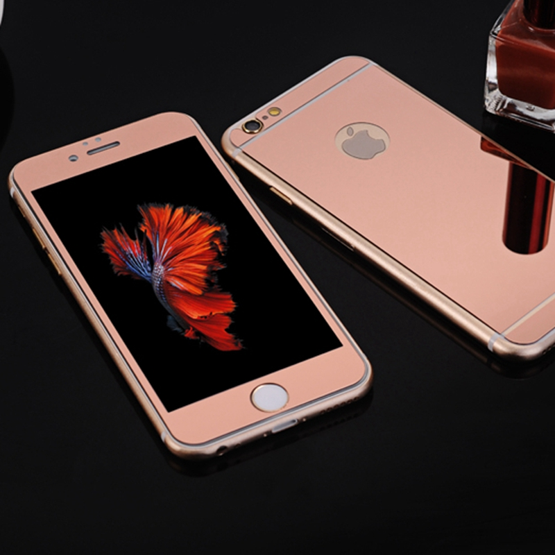 9H Hardness Mirror Glass For iphone 4 4s 5 5s SE 6 6s Plus Electroplating Tempered Front+Back Screen Protector Film Full Cover(China (Mainland))