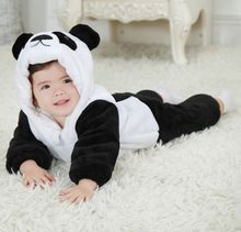 Free Shipping New Cute Animal Panda One Piece Long Sleeve Cotton Newborn Baby Romper Baby Costume Clothing Clothes(China (Mainland))