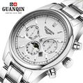 Brand Gold Luminous GUANQIN Watch Men Moon Phase Waterproof 30m Luminous Quartz Watch Luxury Analog Wristwatch