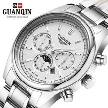 Brand Gold Luminous GUANQIN Watch Men Moon Phase Waterproof 100m Luminous Quartz Watch Luxury Analog Wristwatch Week Display