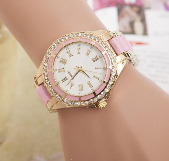 2016 New Fashion Imitation Ceramic Watch Luxury Rhinestone Watches Women Brand Analog Quartz Watch Roman Scale