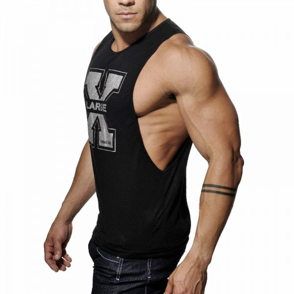 2015 new men s vivid gym tank tops low cut armholes vest Fitness shirts for men