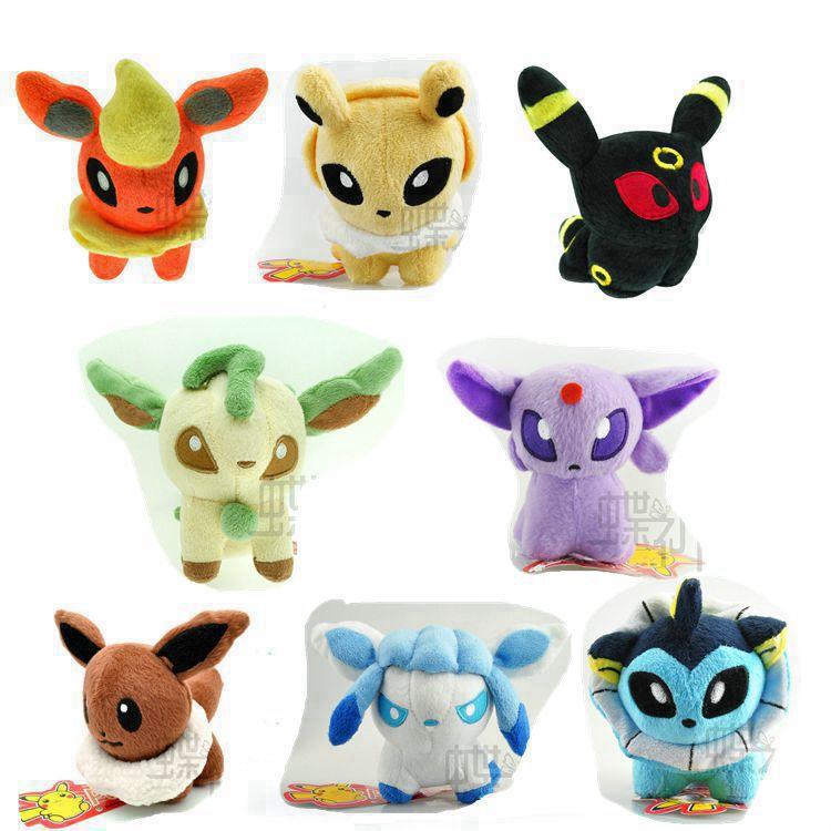 8pcs/set 12CM Cute Eevee Flareon Vaporeon Jolteon Eevee Leafeon Glaceon Umbreon Espeon Pokemon Plush Toy Baby Soft Stuffed Toys(China (Mainland))