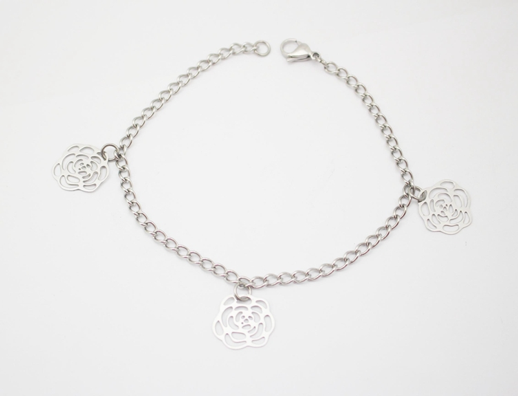 2015 New Design 3 Rose Flower Silver Anklets anklet bracelet foot jewelry anklets for women in Jewelry 316L Stainless Steel(China (Mainland))