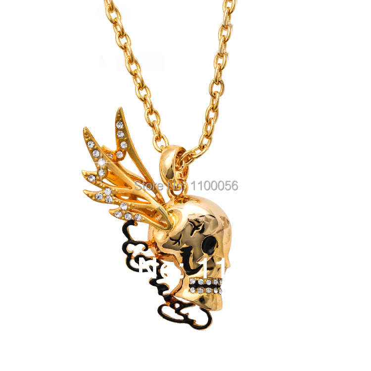 Neckless Women Bijoux De Marque Collane Collier Femme Gold Skull Wings Necklaces Rhinestone Skeleton Necklace for women T1400(China (Mainland))
