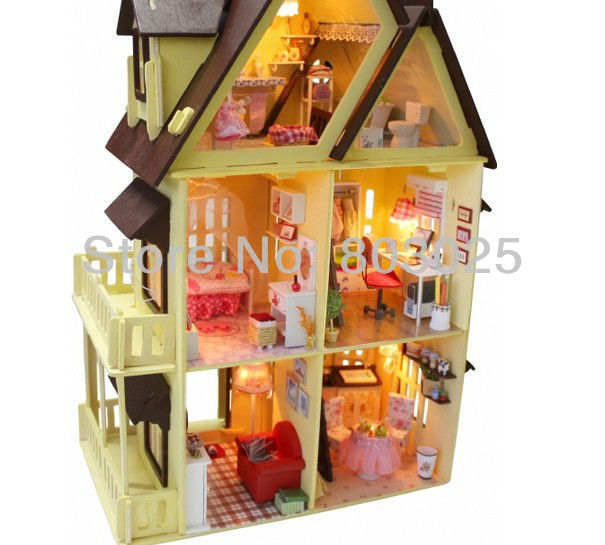 Free Shipping Big Size Kids Educational DIY Wooden Dollhouse -- Handmade Miniature House Model Include Furnitures,Lamps,Tools(China (Mainland))