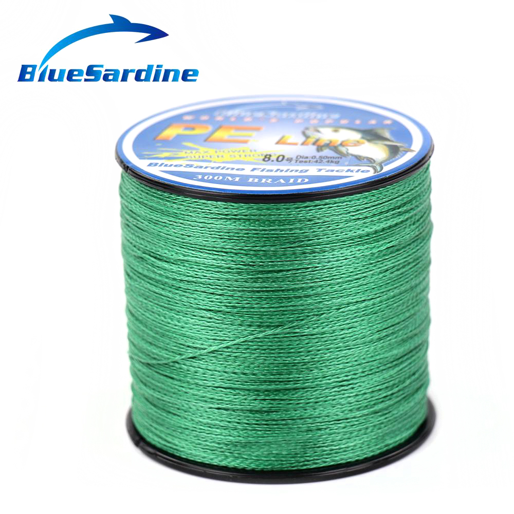 300M Green Fishing Line Multifilament PE Braided Sea Ocean Super Strong 4 Braided Wires 12LB - 90LB(China (Mainland))