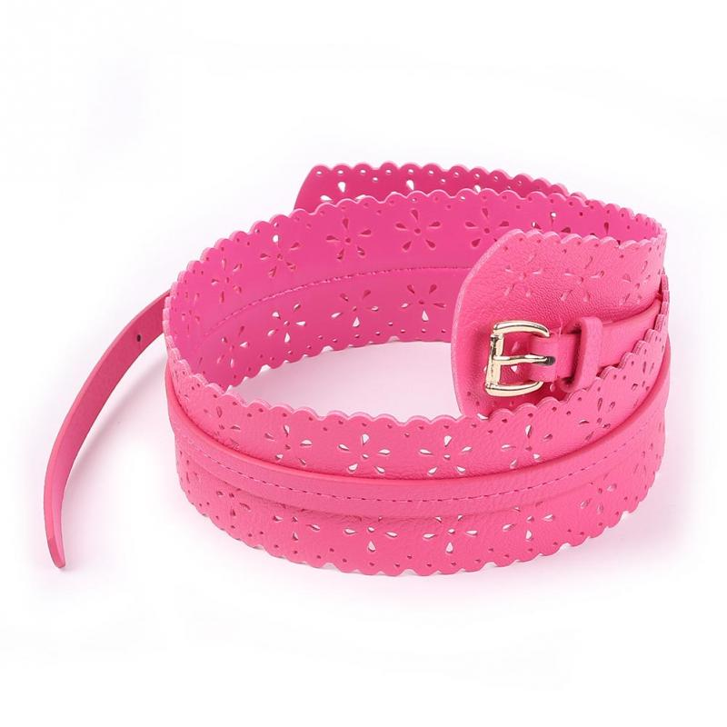 Fashion Elegant Womens Lady PU Leather Buckle Hollow Flower Wide Waist Belt Waistband 2 Colors - cn1510659978 store