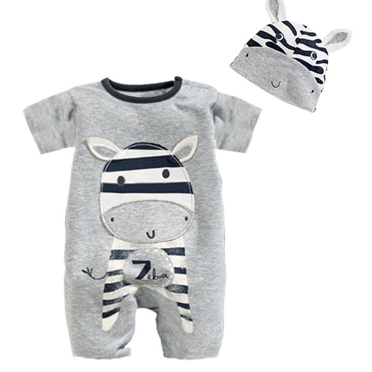 Roupa De Bebe Cartoon Animal Short Sleeve Romper Hat 2PCS Set Summer Baby Boy Clothes Baby Girl Clothing Cow Panda Zebra Lion<br><br>Aliexpress