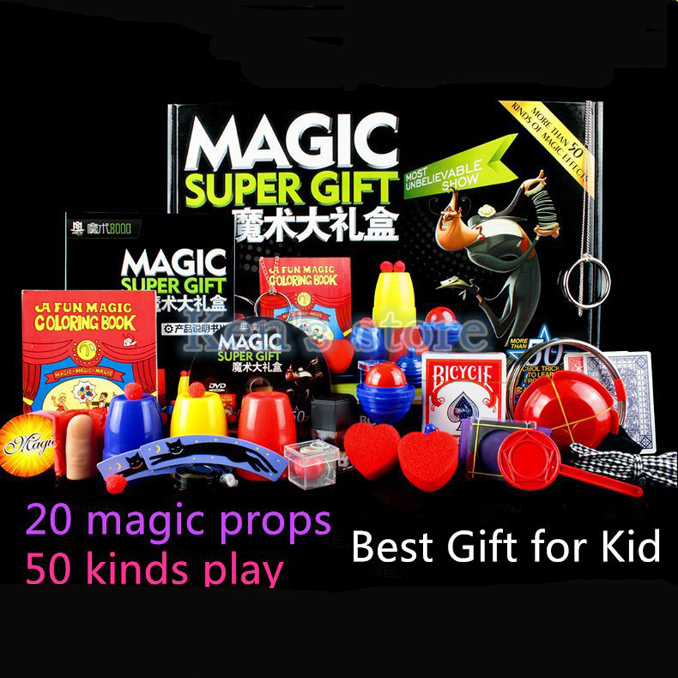 Close Up Magic Trick Set 50 Kinds Play With DVD Puzzle Toy Christmas Gift For Adults Kids