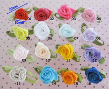 can choose colors FS022 Ribbon Rosettes With Green Leaf 2CM Ribbon Flower 100pcs Clothes Accessory