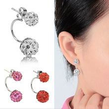 Europe and America pop explosion shambhala drill the ball earrings Hang up after drilling clay double ball earrings for women(China (Mainland))