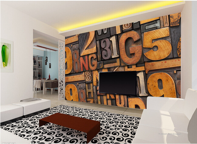 The most popular 3D murals, European style retro woodcut word wallpaper, the living room sofa TV wall bedroom wall wallpaper(China (Mainland))