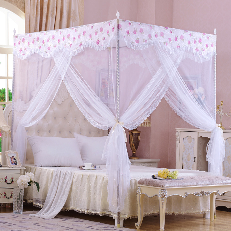 Palace mosquito net quadrate lace summer polyester net curtain stainless steel frame floor-net netting three-door moustiquaire(China (Mainland))