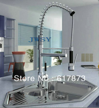 New chrome multi-function swivel kitchen sinks faucet pull out mixer tap 4 double sink jw-078