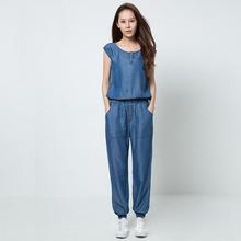2016 New Tencel Light Weight Elegent Women Jeans OverallsSleeveless Woman Loose fit Jumpsuit High Quality Gualantee