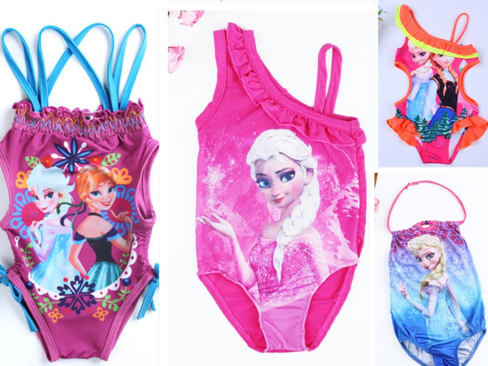 2015 new free shipping EISA Anna baby swim dress cartoon flower fish girl kids swim clothes girl swim dress summer girls dress(China (Mainland))