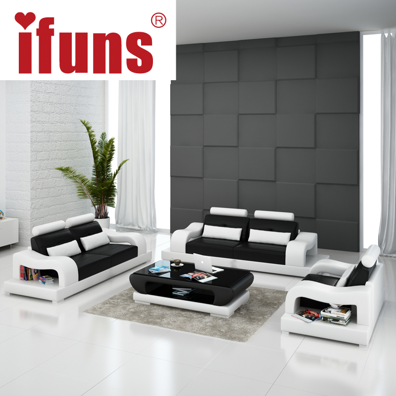 Ifuns 2016 new modern design american home living room furniture 1 2 3 big size genuine cow for American home design furniture