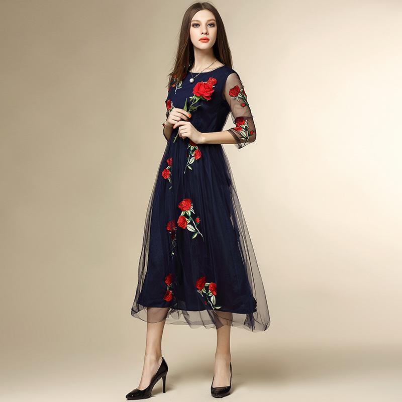 Summer dress new 2016 runway dress half sleeve O neck embroidery floral brand women dress high end vestiti