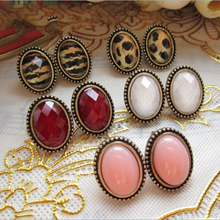 2015 New Hot ! Upscale Fashion Jewelry Wholesale Retro Ethnic Style Many Colors Value Oval Leopard Stud Earrings For Women E-444(China (Mainland))