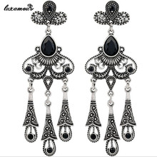 Buy Fashion national wind restoring ancient ways ms black gem drop earrings beautifully girl jewelry accessories wholesale MSE103 for $4.89 in AliExpress store