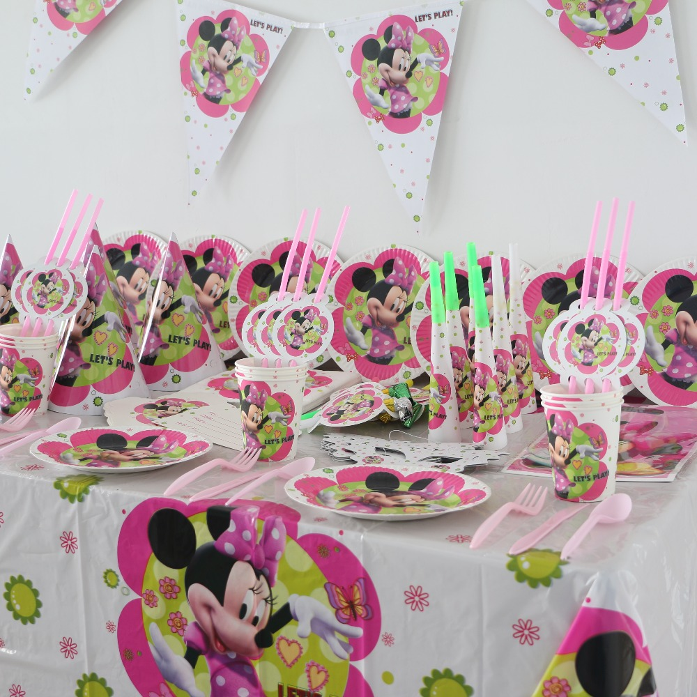 104pcs disposable paper cups plates minnie mouse kids girls theme baby birthday Party Decoration Set party supplies for 8people(China (Mainland))