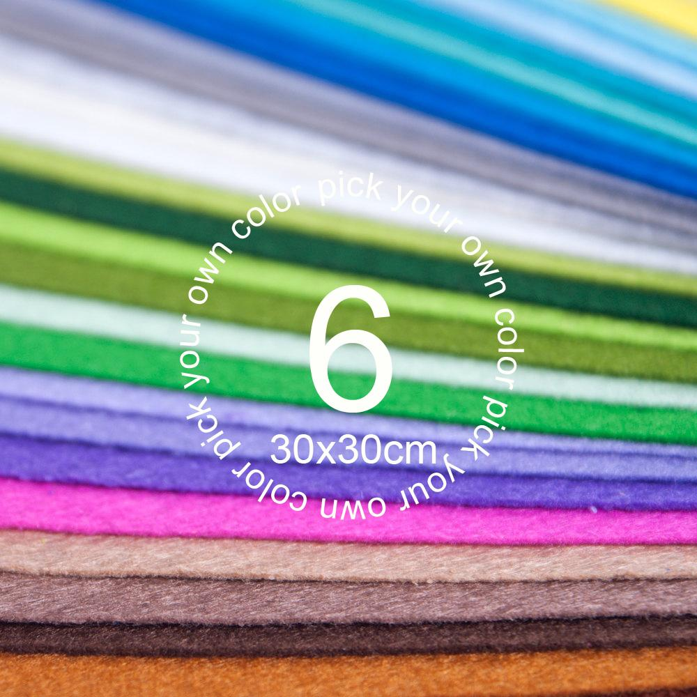 Pick your own color Custom Nonwoven Felt Fabric Traditional Handmade Products DIY Craft 1MM Thick 6PCS/lot 30CM*30CM(China (Mainland))