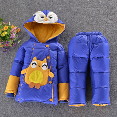 Top quality 2014 male female baby down coat set suspenders down pants New kids clothing children's fashion jacket winter outwear(China (Mainland))