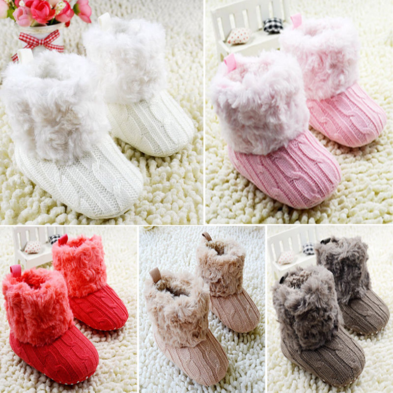 Baby Shoes Infants Crochet Knit Fleece Boots Toddler Girl Boy Wool Snow Crib Shoes Winter Booties(China (Mainland))