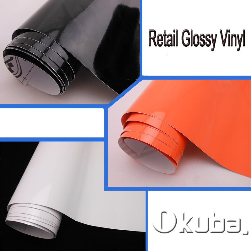 Retail Good Quality Black/White/Orange Glossy Vinyl wrap film For Car Wrap Films with Air Bubble Free Size: 1.52*3m/5m/10m/15m(China (Mainland))