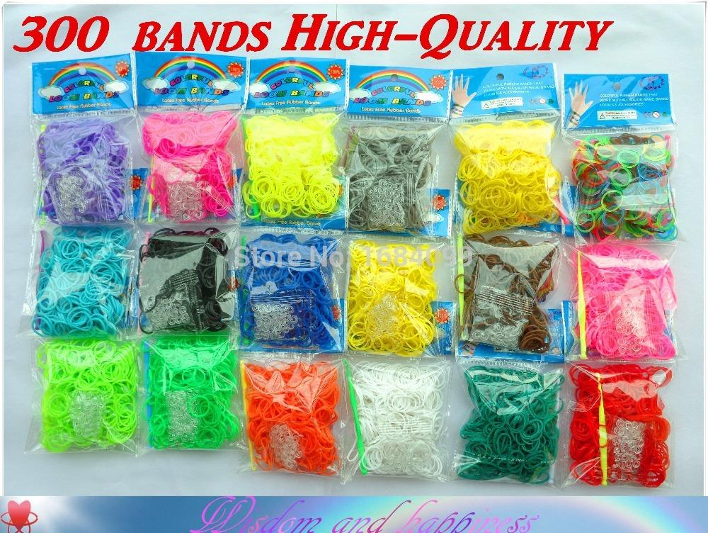 Hot Sale! 300 pcs High-Quality Colorful loom Rubber bands DIY make rubber band bracelet with opp package twistz bandz(D013)(China (Mainland))