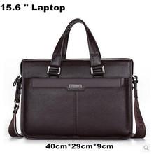 "100% Guarantee Natural Cow Leather Brand men handbags men's shoulder messenger bags 15.6"" Laptop Bag Genuine Leather Briefcase(China (Mainland))"
