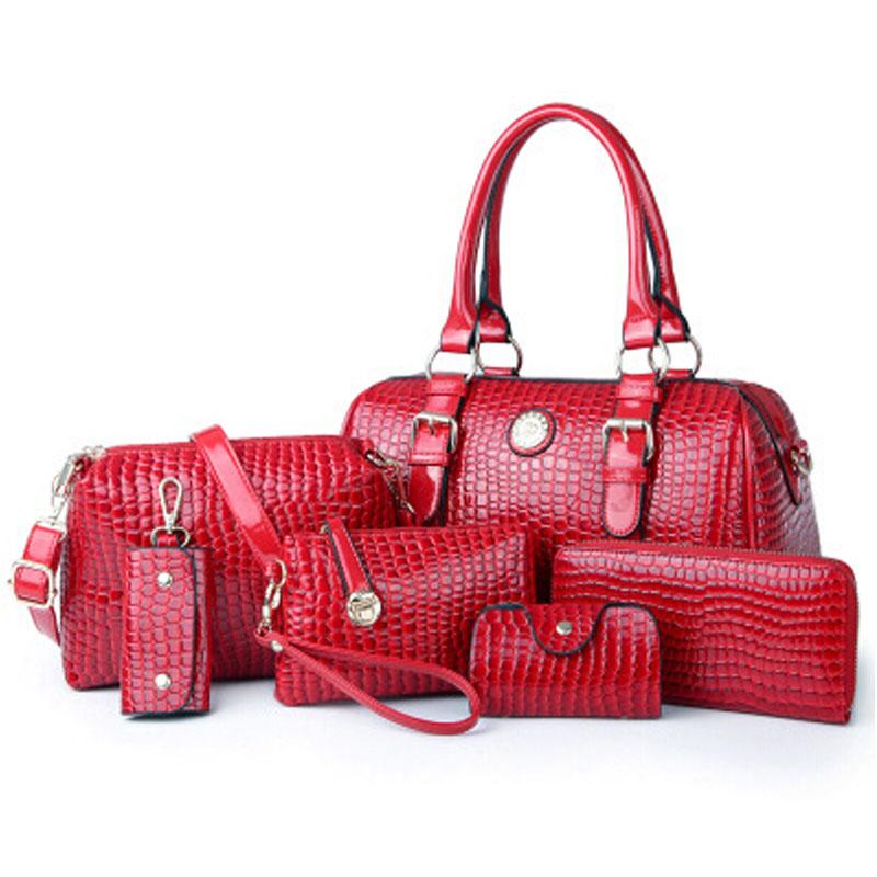 2016 New Women Leather Handbags Bolsas Woman Bags Crocodile PU Lady Shoulder Tote Female Messenger Bag + Purse Clutch 6 Sets