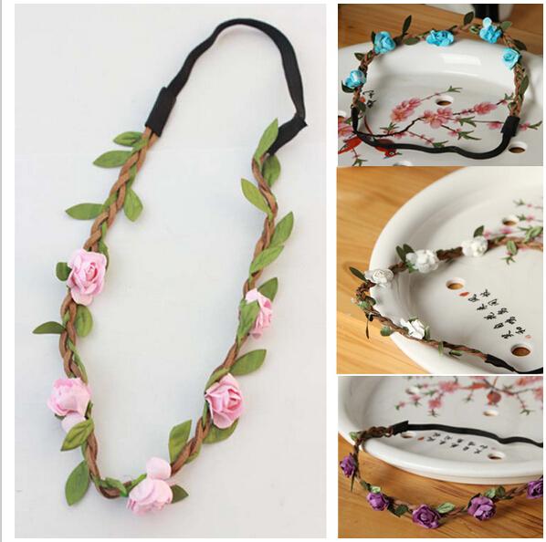 2015 Hot Sale new fashion women Bohemian beach flowers elastic hair bands headscarf drop shipping tire hair accessories(China (Mainland))
