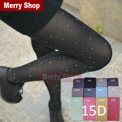 2014 New Arrival Summer Candy Color Sparkling Rhinestone Pantyhose Core-Spun Yarn Sexy Tights Women Fashion Tight Pantyhose(China (Mainland))