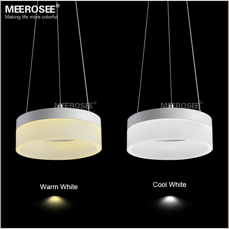 Modern 1 Ring LED Pendant Light Fixture Small White