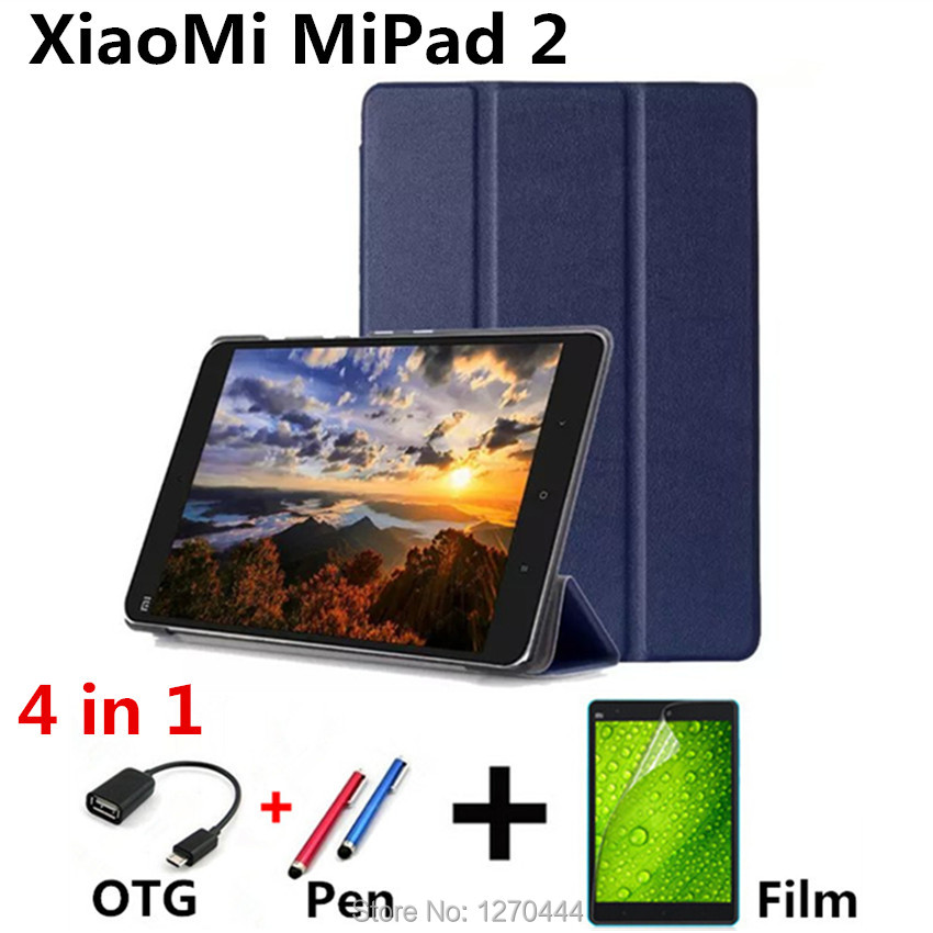 For Xiaomi Mipad 2 Pu Leather Case Cover capa para for Xiaomi Mi Pad 7.9'' Tablet PC Flip Case PC+Film+OTG+Pen(China (Mainland))