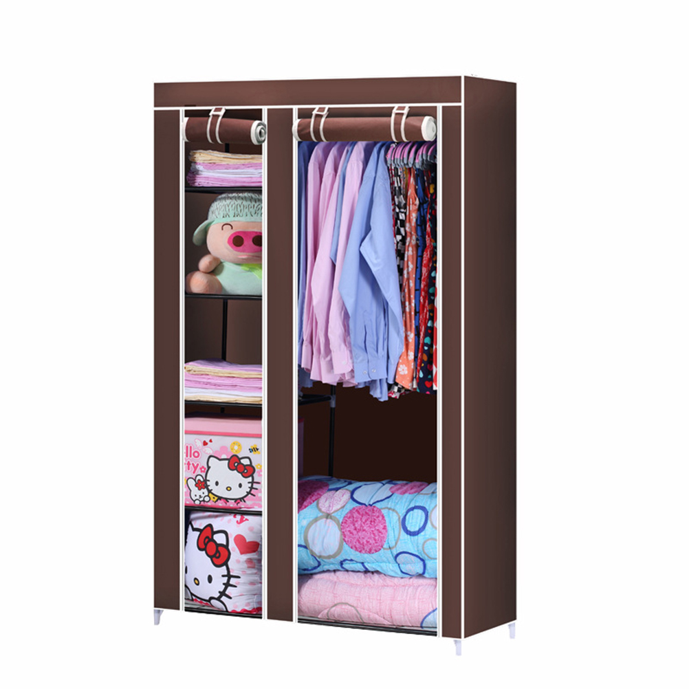 Closet Organizer Wardrobe Clothing Hanger Bedroom Furniture Roll Up Cabinet Cloth Hanger Rack (Coffee)(China (Mainland))
