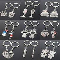 9 Styles New Design Fashion Simple Keyring Pendant Holder Key Chain Ring Best Friend Lovers'Valentine's Gift
