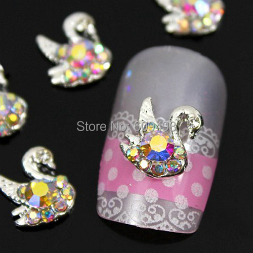 b412 50pcs/lot Mix-Colors AB Rhinestones Flatback Alloy 3D Swan Design Salon Nail Art Tips Cell Phone Craft Case Decorations(China (Mainland))