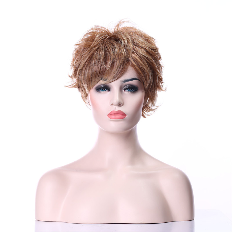 Freeshipping New Stylish Blonde Short Curly Fashion Sexy Wig Synthetic Hair Wig Full Wig for Daily Life(China (Mainland))