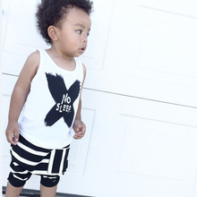 Baby Boys Girls Clothing Set NO SLEEP Tank Tops Strip Shorts Suit 2015New Toddler Infant Little Monster Set, Kid Summer Clothing(China (Mainland))