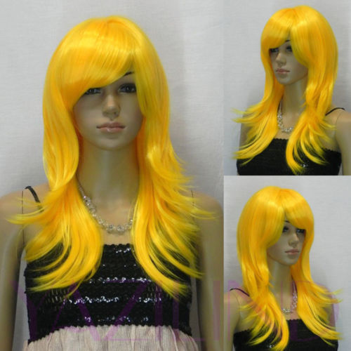 Straight Long Layered Bright Orange Fibre Hair Cosplay Role Play Japanese Wig heat resistant fibers Hair wigs Shipping(China (Mainland))