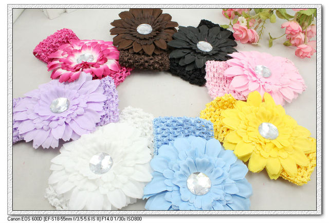 24 pcs per lot 8 colors cute big flower with resin baby kids Crochet Headbands & elastic fabric hairbands H5079 FREE SHIPPING