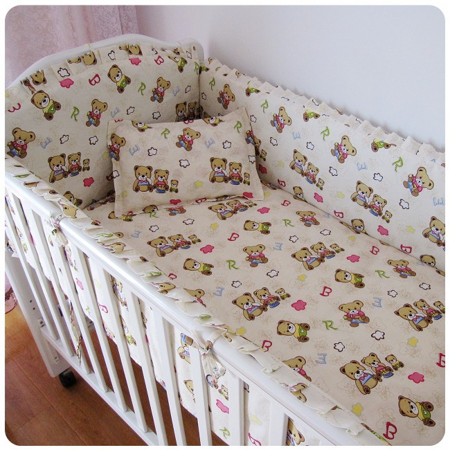 Promotion 6pcs bear baby bedding set 100 cotton curtain for Drapes over crib