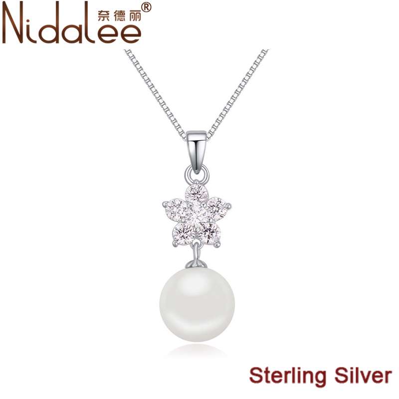 Round Pearl Necklace 925 Sterling Silver Zircon Pearl Necklace For Women Accessories Choker Necklace Fashion Jewelry CN1681(China (Mainland))