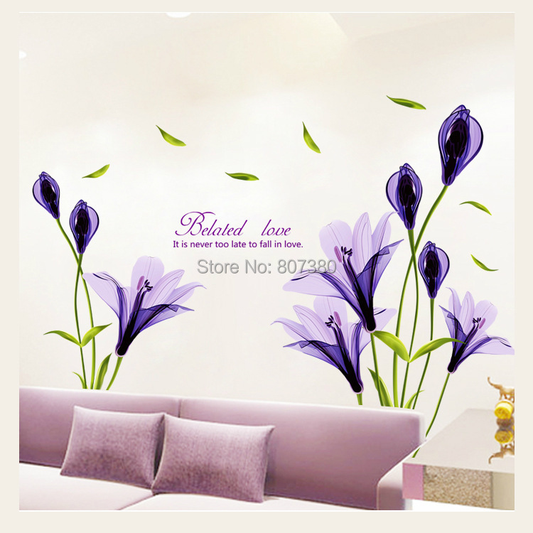 Purple Lily Flower Wall Stickers Home Decoration Removable Decal Houseware - Rose-Jewelry store