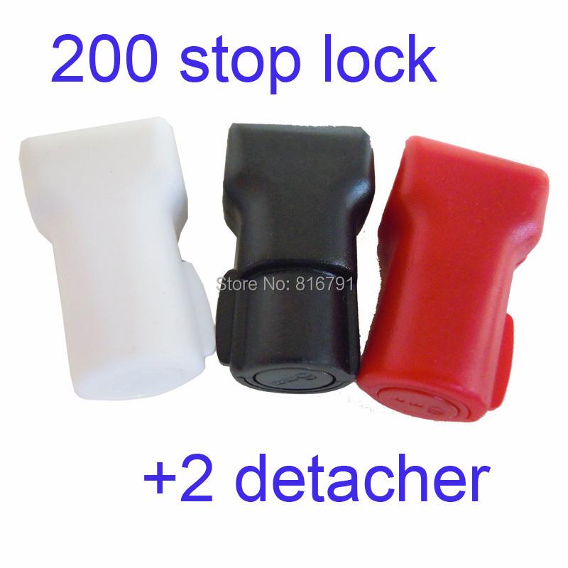 Гаджет  200pcs Retail Security Shop Stop Lock + 2 Detachers, for Stem & Peg Display Hooks Anti-theft Anti Sweep None Безопасность и защита