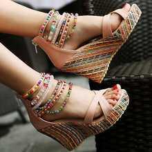 2015 fashion new Bohemia beaded sandals female wedge platform shoes gladiator ankle strap elegant women high heel sandals